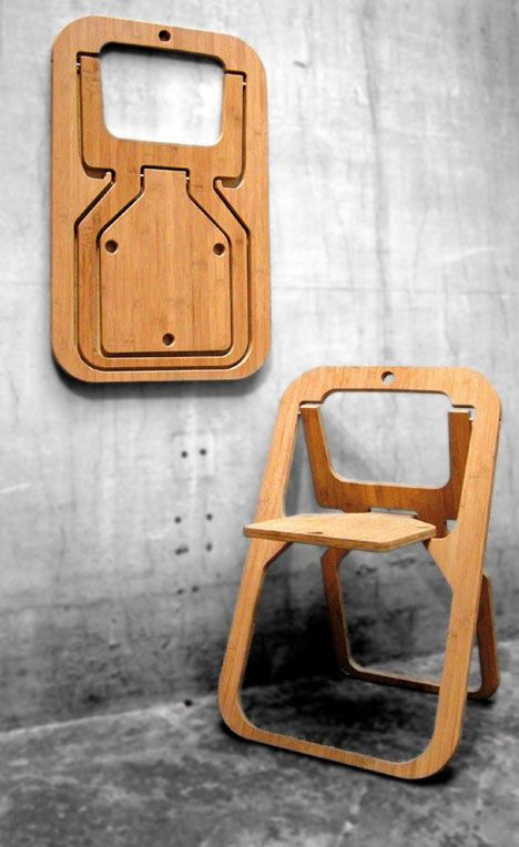 Fascinated with geometry, the French visual artist and photographer Christian Desile eventually began creating furniture. His Desile chair, above, caused quite the stir at Paris' 2009 Maison & Objet show; the designer seemingly came out of nowhere to win the Coup de Coeur award. The bamboo version above is intended for indoor use, whereas the outdoor version below is produced from recycled PET plastic, and is itself 100% recycleable.