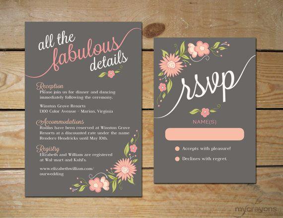 Romantic Floral Wedding Invitation Set // by MyCrayonsPapeterie