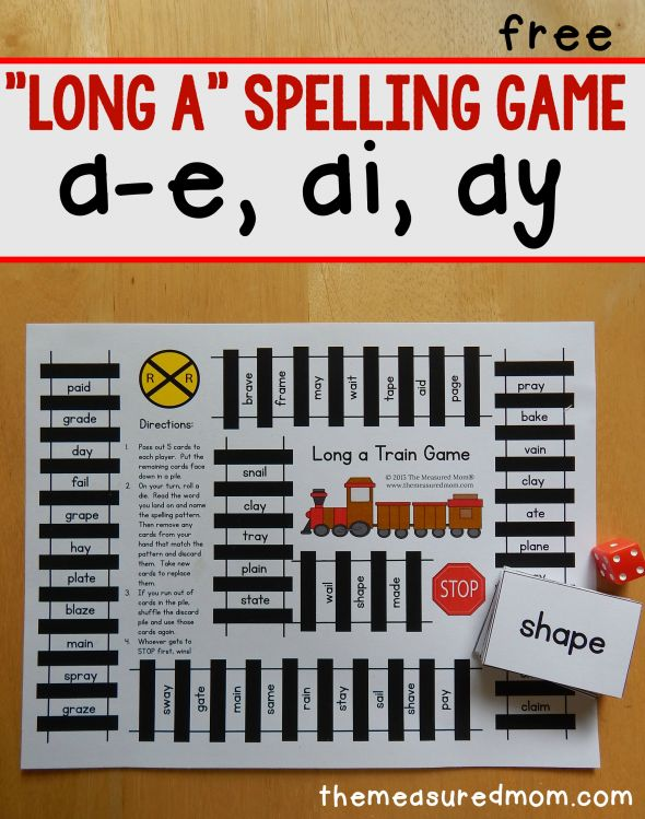 Long a spelling patterns - free printable game!