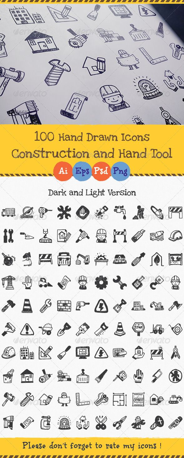 Hand Drawn Construction and Hand Tool Icons
