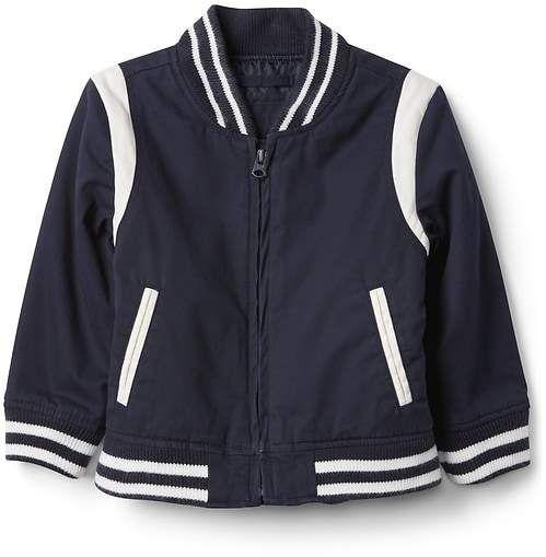 GAP Varsity Bomber Jacket #commissionlink #gap #toddler #toddlerfashion #boys #boy #spring #springfashion
