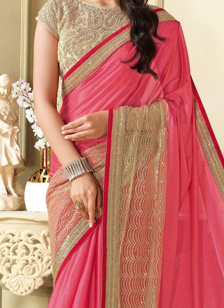 Pink Georgette Bordered Saree
