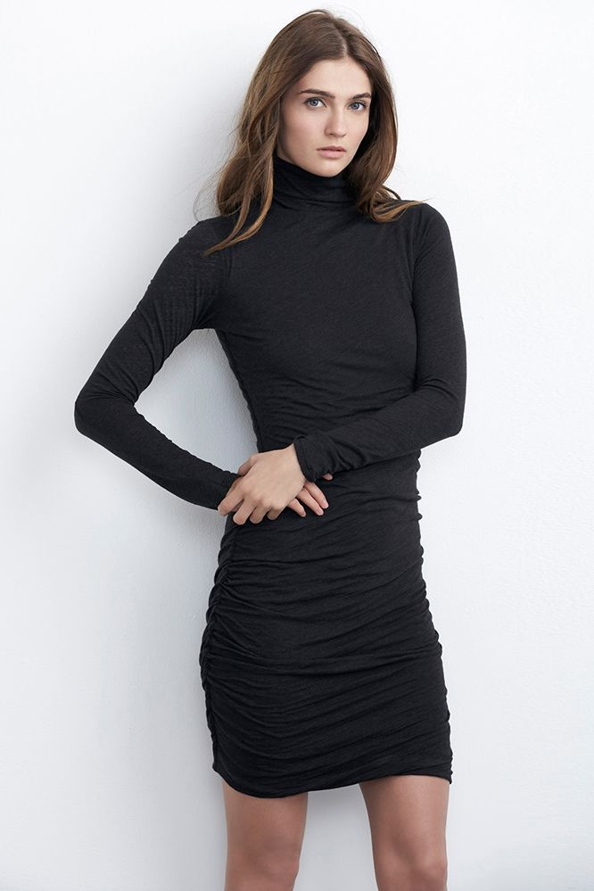 $147.00 ANNIA RUCHED TURTLENECK DRESS