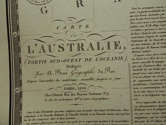 AUSTRALIA antique map 1826 LARGE original old antique print of