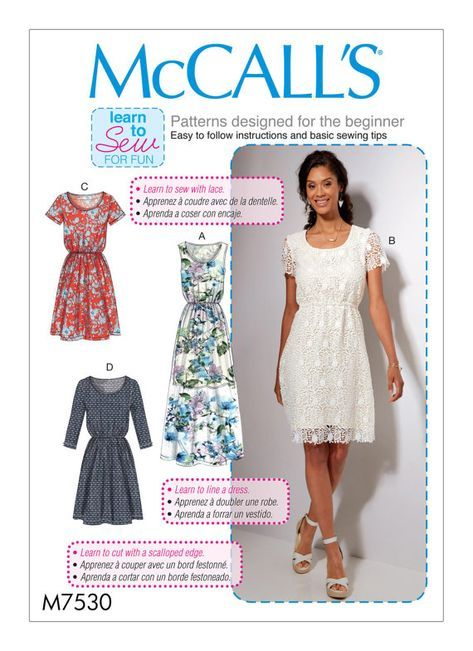 McCalls Sewing Pattern M7530 Lined, loose-fitting pullover dresses ...