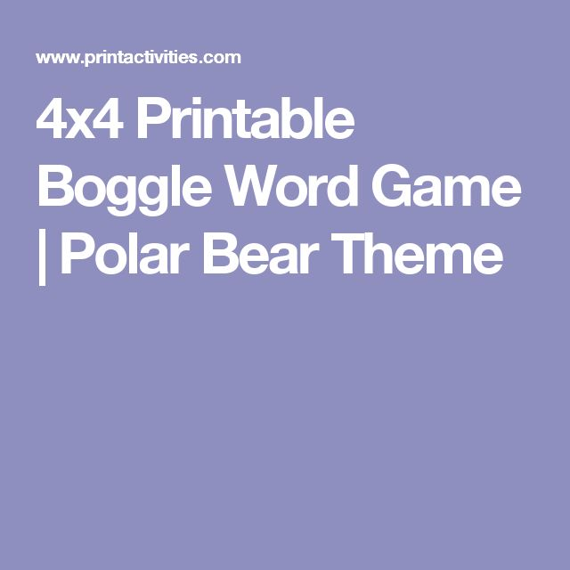 4x4 Printable Boggle Word Game | Polar Bear Theme