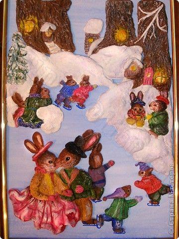 Картина панно рисунок Новый год Лепка С Новым Годом Любви и счастья Тесто соленое фото 1