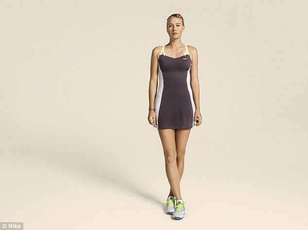 Defending champion Sharapova in her new Nike custom outfit for the 2013 French Open