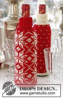 """Stickade DROPS flasköverdrag till jul i """"Fabel"""" med norskt mönster ~ DROPS Design"""