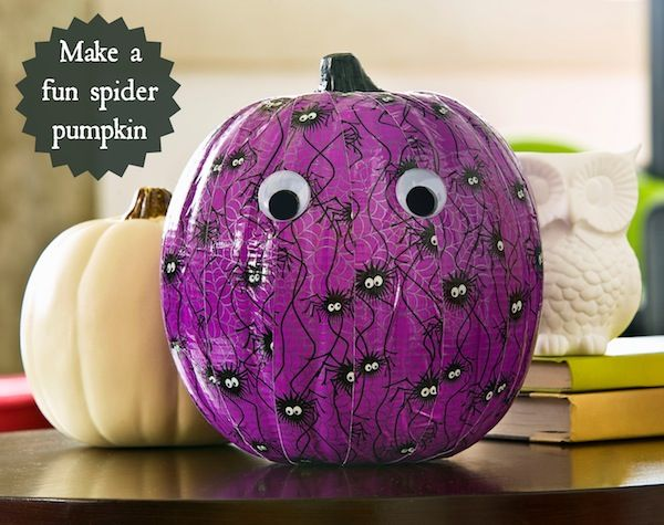 Make a fun spider pumpkin using duck tape