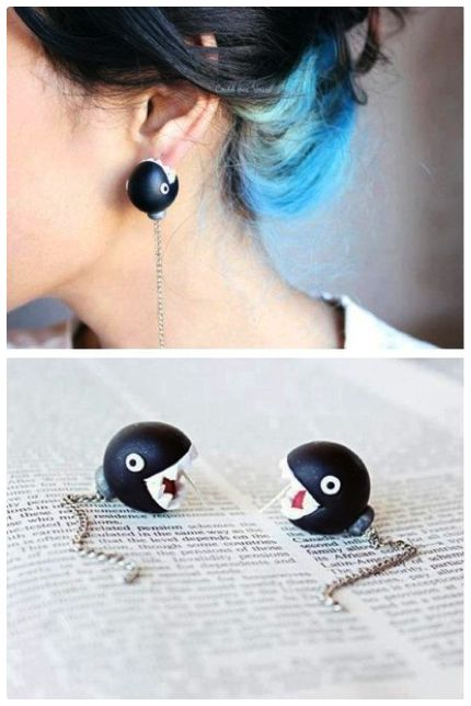 Super Mario Chain Chomp earrings by Guo Guo on @Etsy