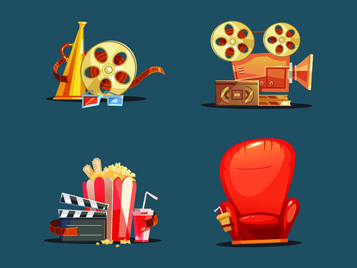 Flat Design Retro Objects With A Film Projector by manishprajapati