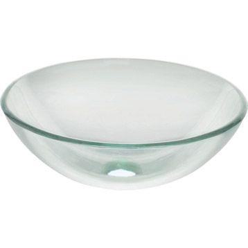 Vasque à poser Luna en verre 39.50 x 39.50 cm