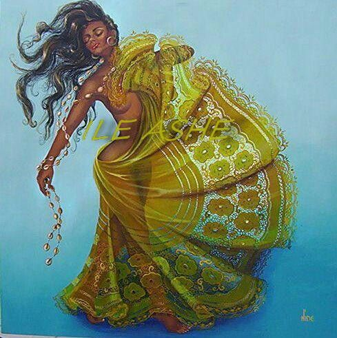 Oshun, goddess/orisha of sweet waters, beauty, love, artistry, and prosperity.