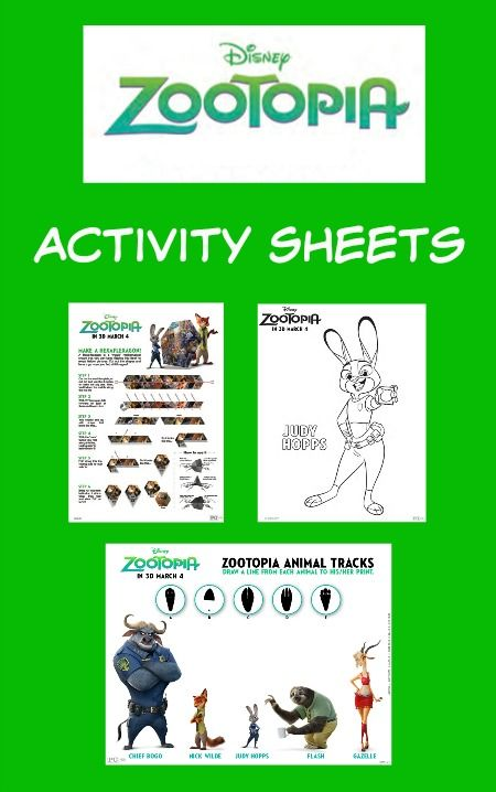 Disney Zootopia Printable Activity Sheets - Thrifty Jinxy