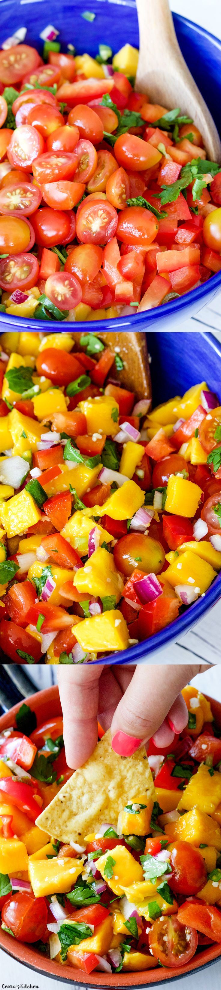 Vibrant and flavorful Mango Salsa that doubles as a colourful #Summer salad! #Healthy #Salad #Vegan #GlutenFree