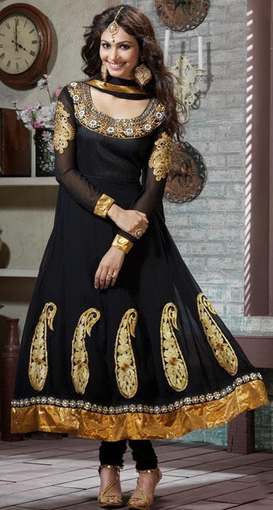 Black Faux Georgette Embroidered Long Anarkali Style Salwar Suit 24218