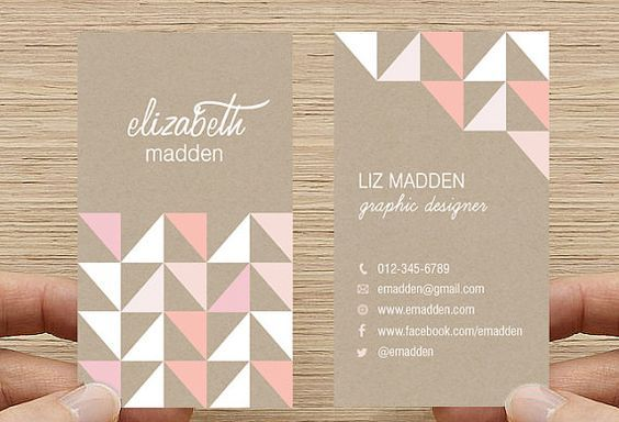 Geometric Triangles Business Card Kraft Paper by inmystudio. calling card, geometric pattern, salmon, pink, white: