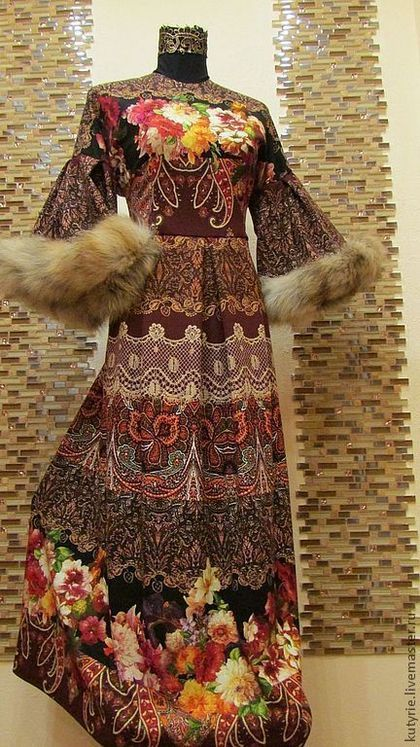 """Авторское платье """"Кофе По-Царски"""" - коричневый,цветочный,аля рус,русский стиль"""