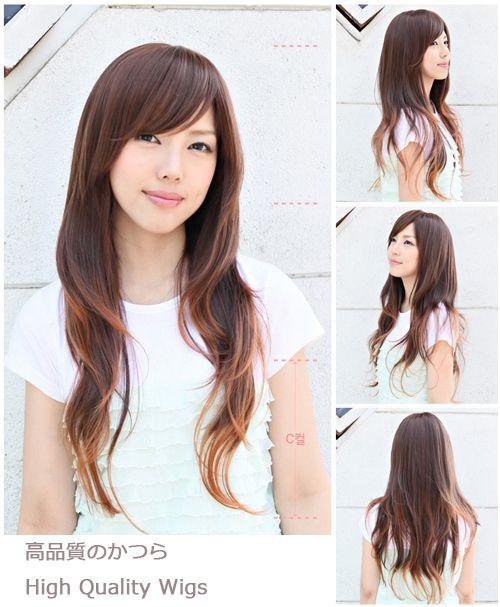 Layered long hair I love the long side bang too!