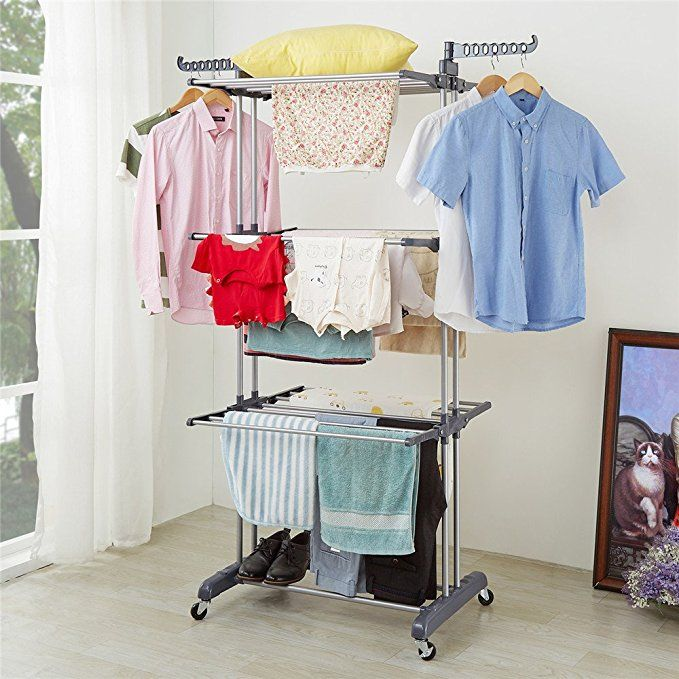 Richstar 3 Tier Clothes Drying Rack With Commercial Grade Casters Perfect For Your Laundry Room And Outdoor Laundry Folding Clothes