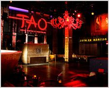 TAO Nightclub (at the Palazzo) - For those craving a high energy, DJ driven atmosphere, TAO boasts a 40-foot-long outside terrace with stunning views of the Las Vegas Strip, gorgeous go-go dancers, state-of-the-art audio and lighting systems, and two main rooms each featuring varying music formats. This ultimate nightlife facility also offers eight private skyboxes with mini-bars, espresso machines, and banquettes featuring secured purse drawers, as well as European Bottle Service.