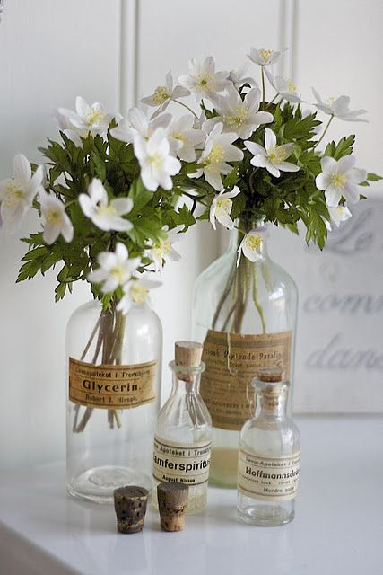 old bottles and white flowers . .