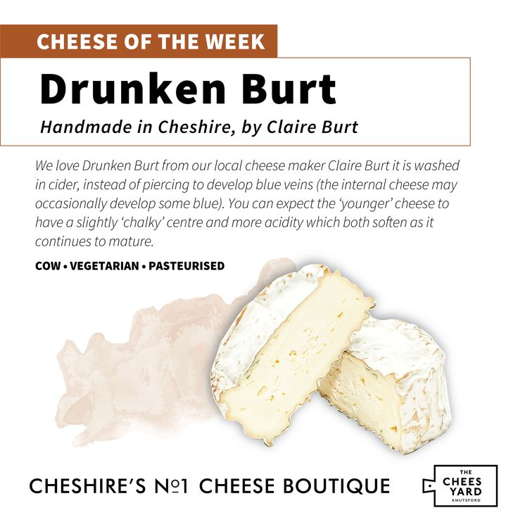"CHEESE OF THE WEEK!! At The Cheeseyard we use a large selection of cheeses and we like to showcase some of our favourites. This week we have selected ""Drunken Burt"" from our local cheese maker Claire Burt.   For more information about our cheeses or local cheese makers call Sarah at 01565 751697 or email us at sarah@cheeseyard.co.uk"
