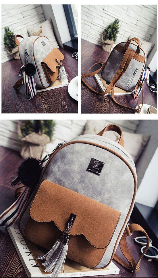Cute Retro Tassel Splicing School Backpack