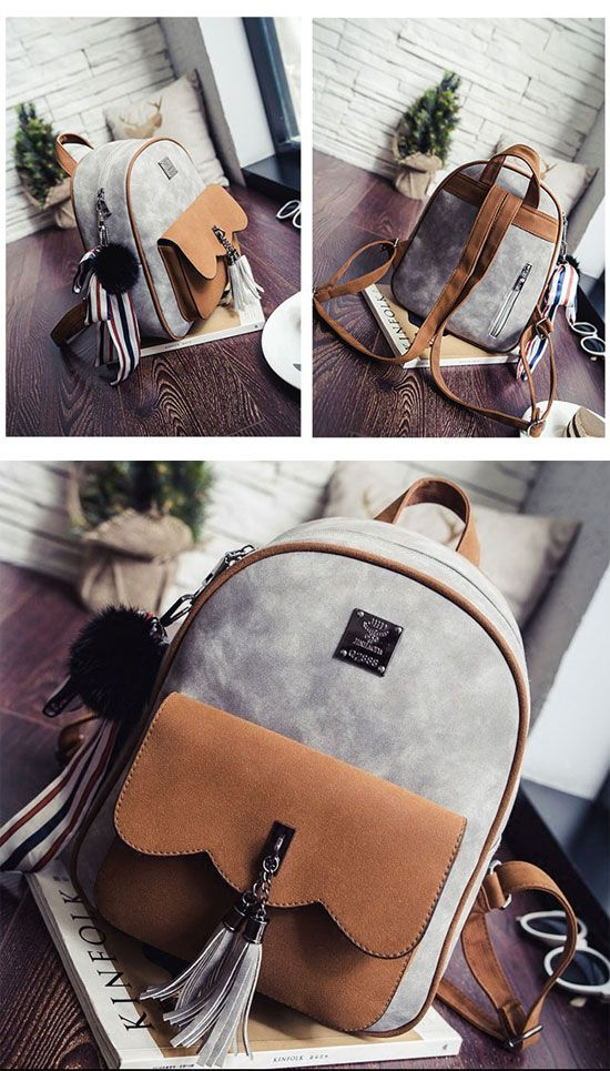Cute Retro Tassel Splicing School Backpack
