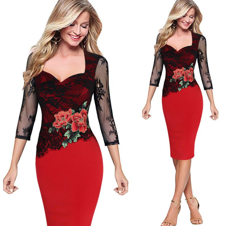 Femage Womens embroidery Elegant Vintage Hollow Out Lace Embroidered Pencil Bodycon Party Dress Summer Plus Size Clothing