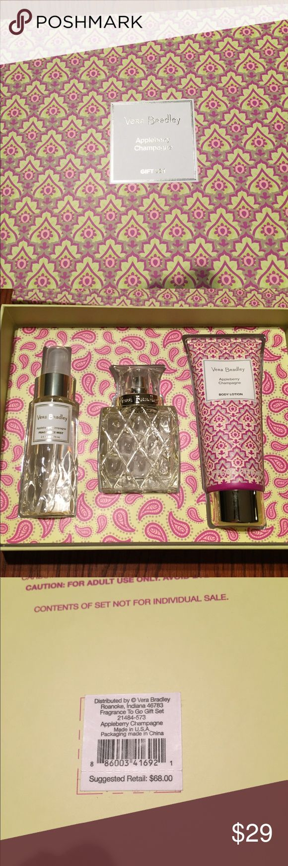 Vera Bradley Appleberry Champagne Gift Set NWT. Vera Bradley Appleberry Champagne 3 piece gift set.  2.5 fl Oz fragrance mist, 1.7 fl Oz eau de toilette, and 4 fl Oz body lotion Vera Bradley Other