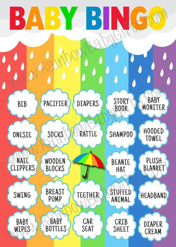 PRINTABLE Rainbow Baby Shower Bingo Game - 50 Pre-Filled Baby Bingo Cards, 1 Blank Card and 1 Calling Mat by RainbowBabyGifts on Etsy