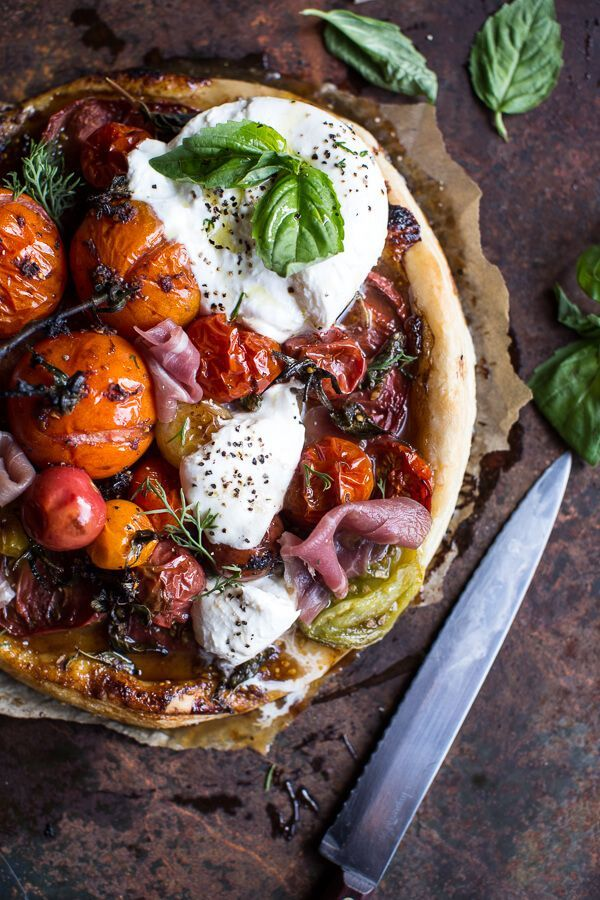 Quick Balsamic Fig Roasted Tomato and Burrata Cheese Tarts www.halfbakedharv...