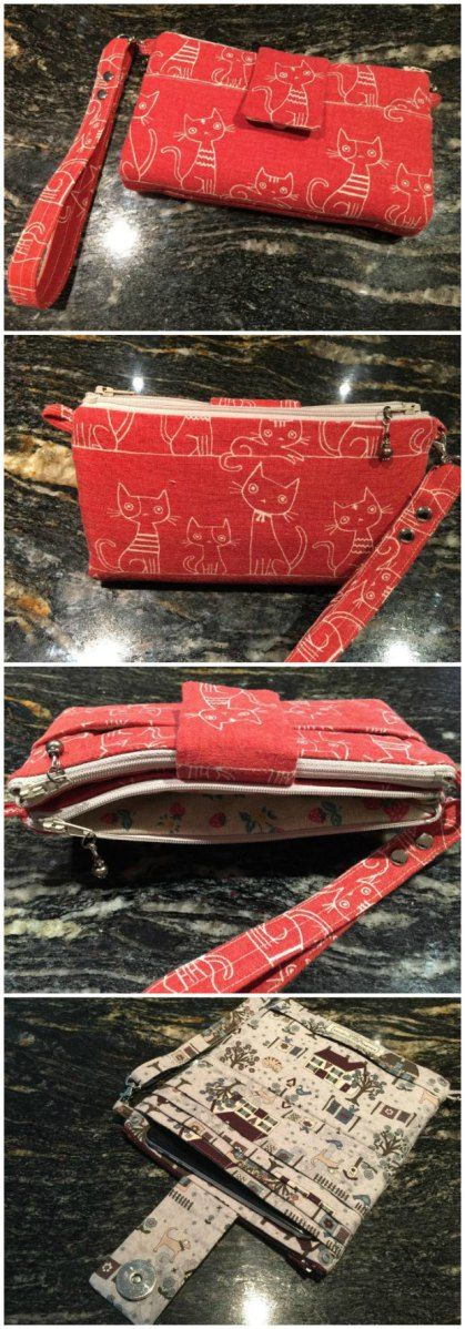 Adorable!  This clutch / wristlet / wallet pattern has everything you need.  Space for your cash and cards, a place for your phone, plenty of pockets, and a wrist strap.  When you don't need …