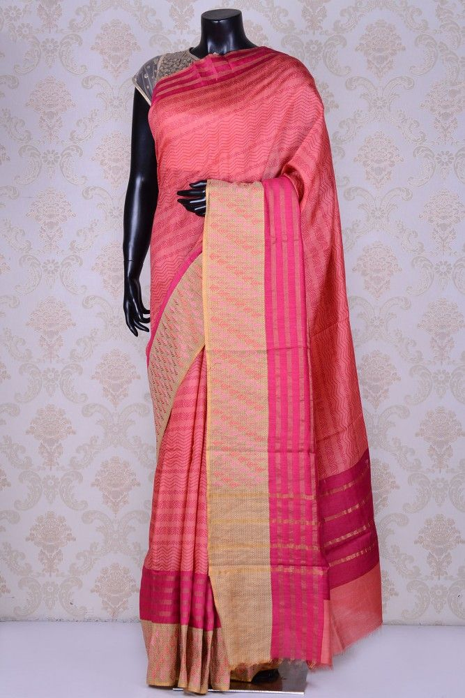 Pink lovely tussar silk saree with thread work - Pure Handloom Tussar Silk