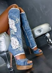Hottest women high heels platforms denim jeans lace patchwork knee boots fashion cut-outs sandals boots on Chiq http://www.chiq.com/hottest-women-high-heels-platforms-denim-jeans-lace-patchwork-knee-boots-fashion-cut-outs-sandals-b