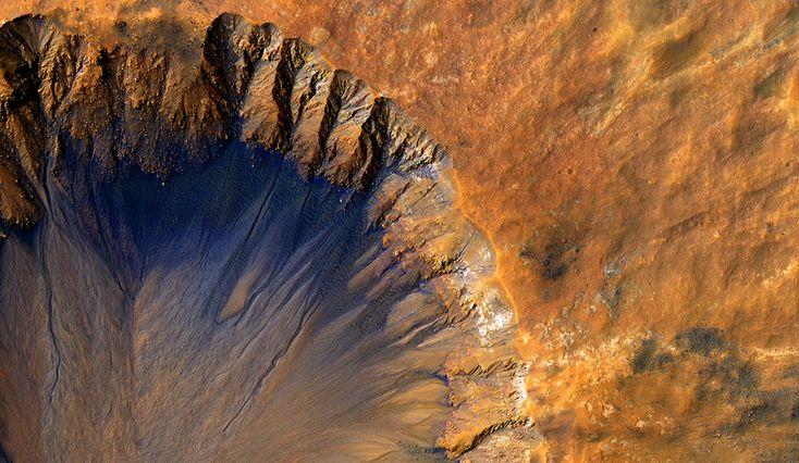 Марсианские кратеры, ледяные шапки, оползни и дюны в ...