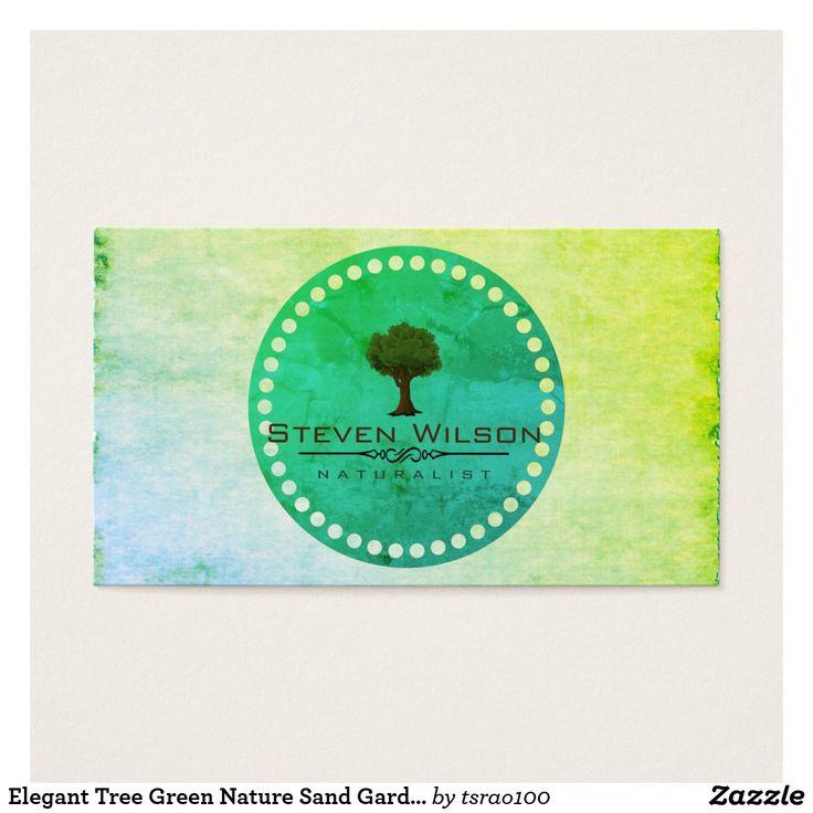 Elegant Tree Green Nature Sand Garden Landscape Business Card ...