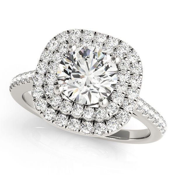 Diamond Double Halo Engagement Ring with Diamond Accent Band - 1.53cttw #SolitairewithAccents
