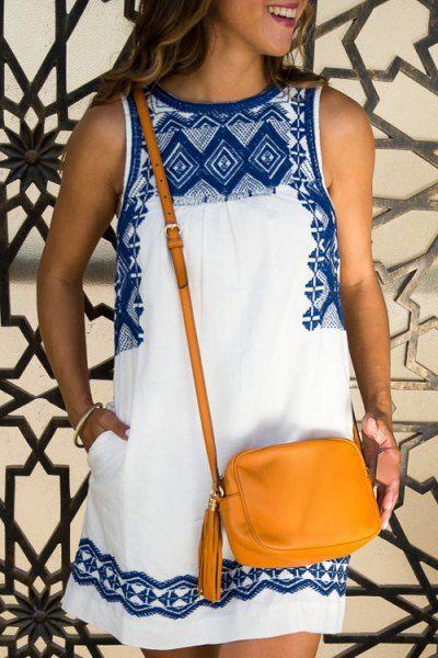 Printed Round Collar Sleeveless Straight Dress White: Summer Dresses | ZAFUL