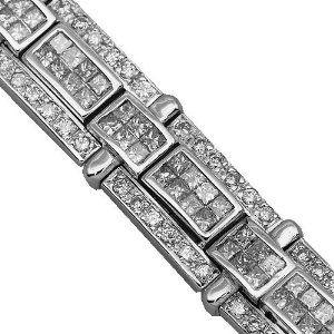 14K White Gold Mens Diamond Bracelet 11.51 Ctw