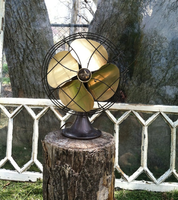 Emerson Electric Antique Fan With Brass Blades By