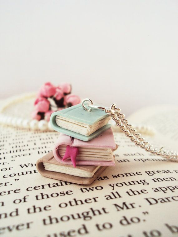 Stacked Books Necklace Polymer Clay Miniature by MyMiniMunchies, $16.00. For the hopeless romantic. Polymer Jewelry