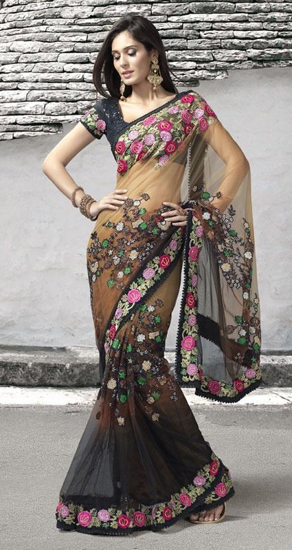 Brown Color Net Saree