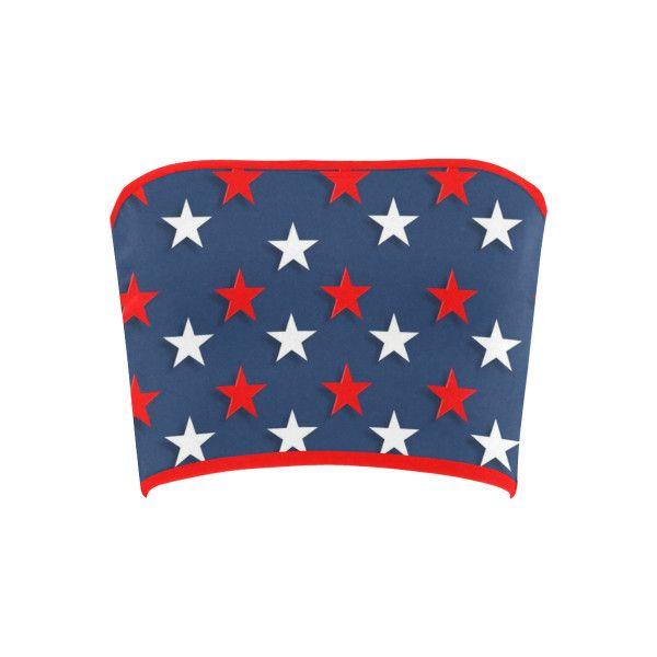 Navy Red White Stars Bandeau Top ($12) ❤ liked on Polyvore featuring tops, red bandeau bikini top, bandeau bikini top, red bandeau top, bandeau tops and white bandeau bikini top