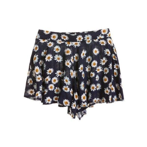 DAISY DUKE SHORT ($34) ❤ liked on Polyvore featuring shorts, bottoms, pants, short, daisy shorts, daisy print shorts and short shorts