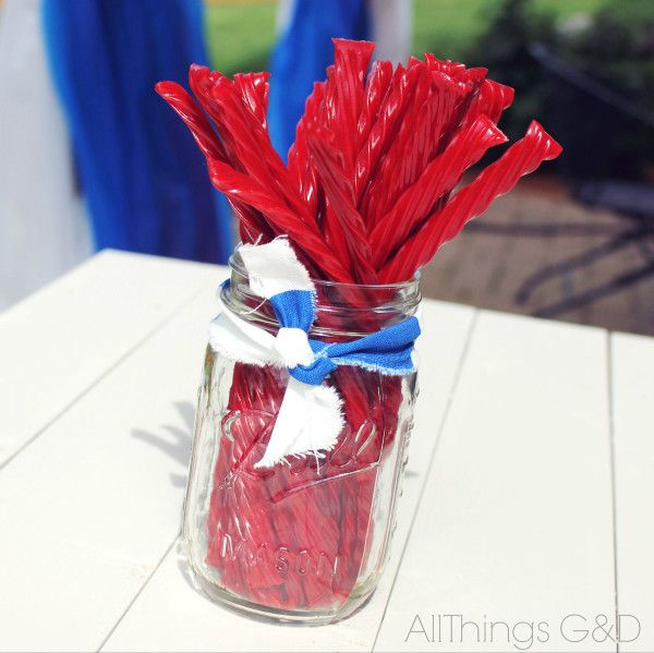 Twizzler Centerpiece for the kids' picnic table - Patriotic Backyard Fourth of July Party   www.allthingsgd.com