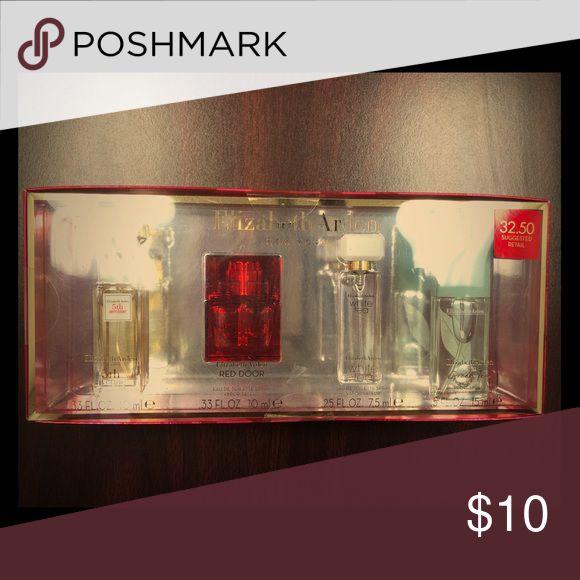 Brand new, unopened Elizabeth Arden Fragrances Includes 10ml 5th Avenue Eau de Parfum Spray, 10ml Red Door Eau de toilette spray, 7.5 ml White area Eau de Toliette Spray,  15 ml Green Tea Scent Spray Elizabeth Arden Other