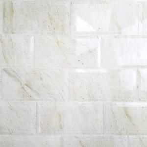 ABOLOS Nature 4 in. x 8 in. Crema Marfil Beveled Glass Peel and Stick Decorative Wall Tile Backsplash (10-Pieces/Pack), Beige